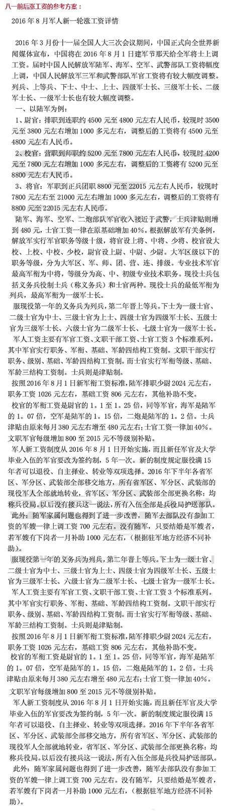 2018年军人工资改革方案最新消息(细则)
