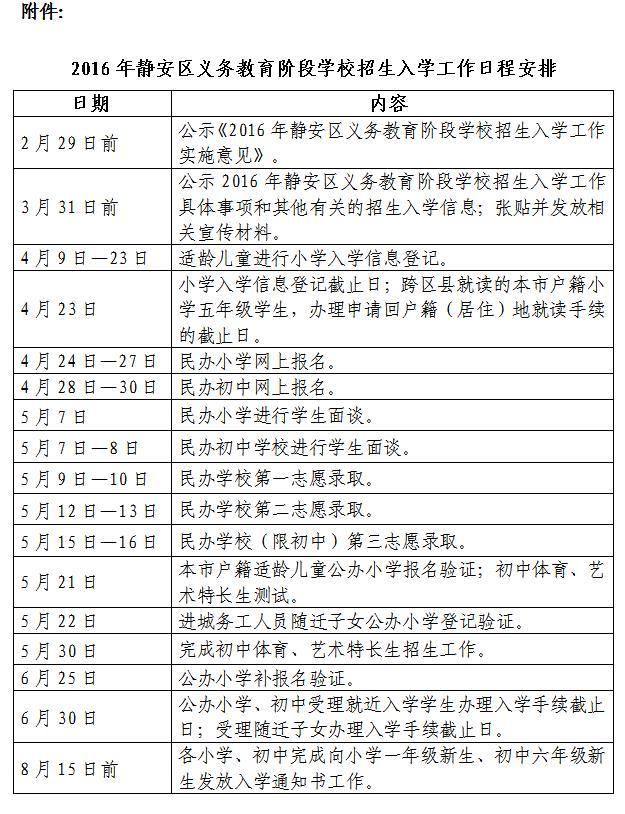 2018年上海静安区义务教育幼升小小升初招生日程安排