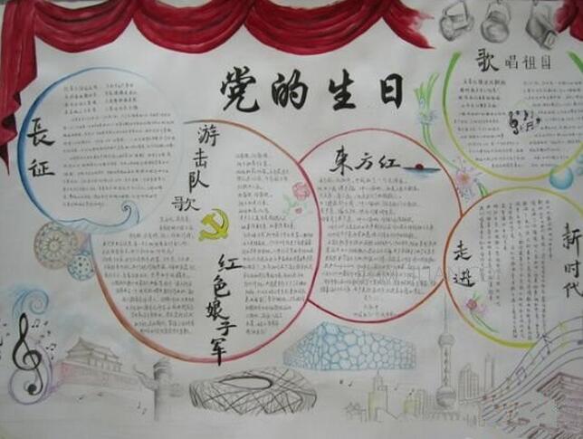 建党节手抄报图片大全_迎七一建党节手抄报图片
